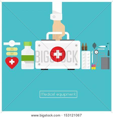vector medicine Bag aid box sphygmomanometer Capsule syringe plaster icon hand and arm long
