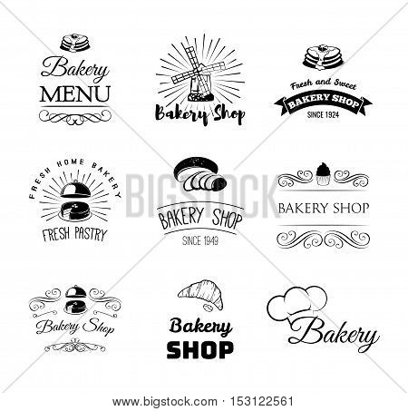 bakery products and pastry cupcake, cake, chef hat, bread, croissant. Menu restaurant. Pastry cook Cooking Vector Illustration