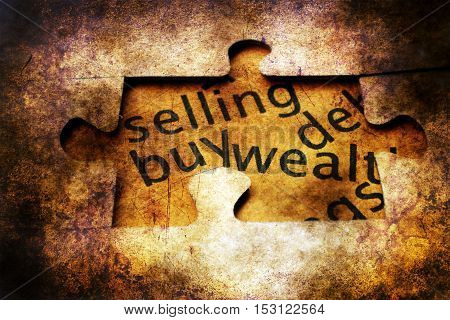 Selling Buy Puzzle Grunge  Concept