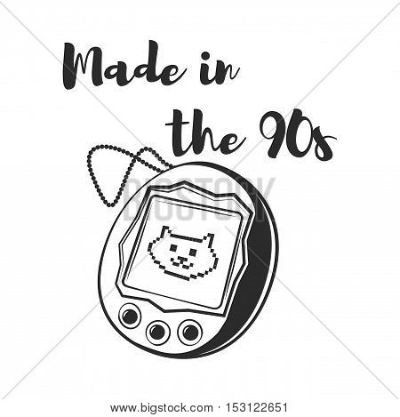 Made in the 90s - Pet Simulator Pocket Video Game. Cat simulation. The kitten game. Vector Illustration. Character Game. Isolated On White