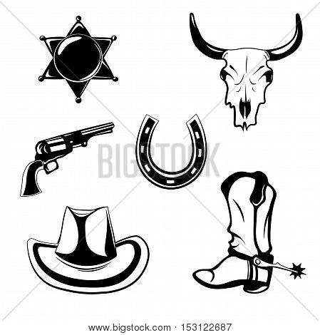 Western theme objects. Sheriff Star Badge. The Skull Of A Buffalo. Revolver Silhouette. Horse Horseshoe. Hat Cowboy. Boots Of The Cowboy. Design Elements Isolated On White Background