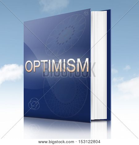 Illustration depicting a text book with an optimism concept title.