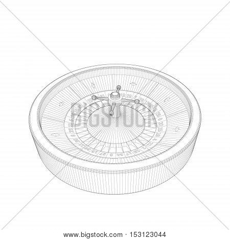 Casino roulette wheel. Isolated on white background.Vector outline illustration.