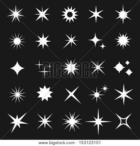 White twinkling vector stars isolated on dark background. Shining glitter star icons set illustration