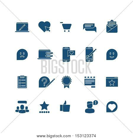 Customer experience, user rating, testimonials vector icons set. Feedback from client illustration