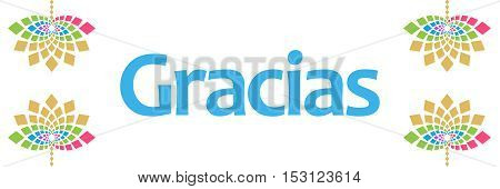 Gracias text written over abstract floral colorful background.