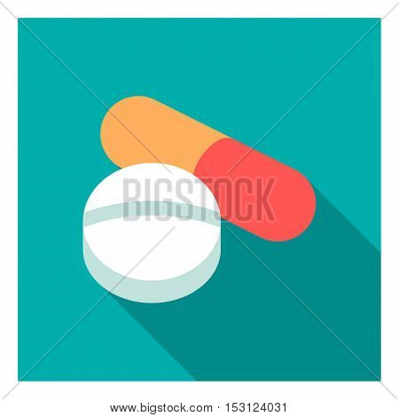Pill icon in flat style isolated on white background. Medicine and hospital symbol vector illustration.