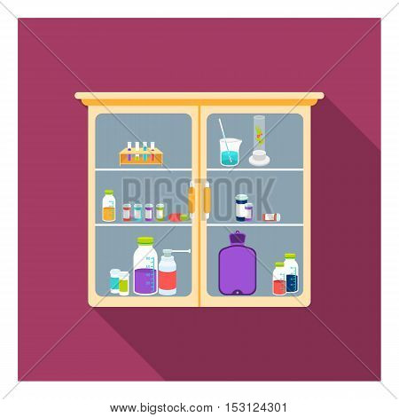 Cupboard with medicines icon in flat style isolated on white background. Medicine and hospital symbol vector illustration.
