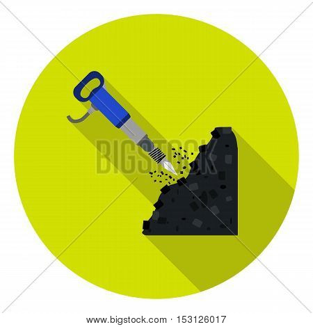 Jackhammer icon in flat style isolated on white background. Mine symbol vector illustration.