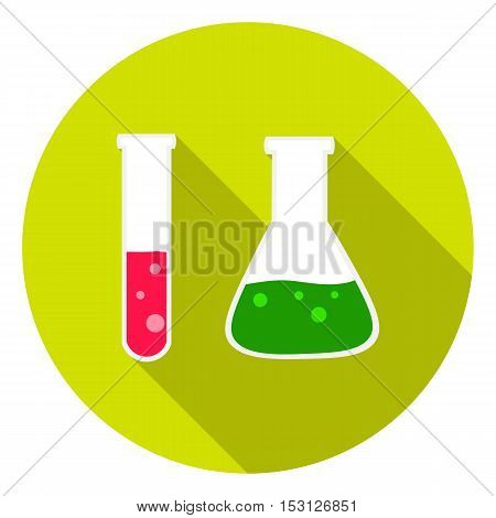 Test tube and retort icon in flat style isolated on white background. School symbol vector illustration.