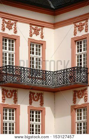 A corner balcony of cast iron a detail of the castle Biebrich in Wiesbaden.