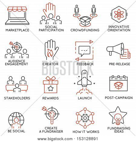 Vector set of 16 thin icons related to crowdfunding crowdsourcing fundraising and support. Mono line pictograms and infographics design elements