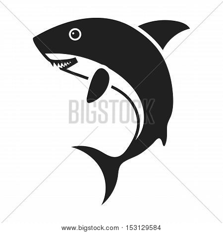 Shark icon in black style isolated on white background. Animals symbol vector illustration.