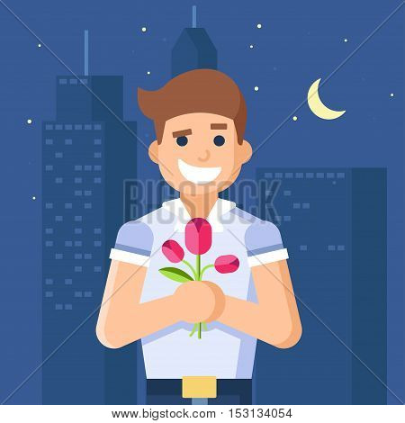 Isolated modern vector illustration of macho man holding flowers. Night city with lights. Trend pseudo volume style. The background of the city. Tulips