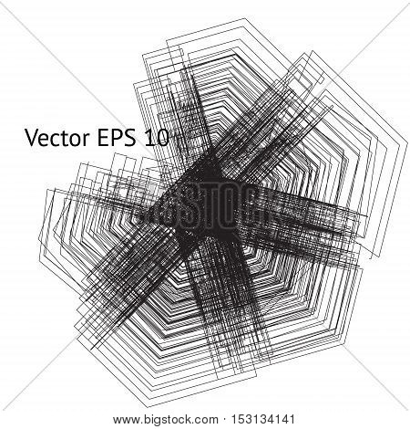 Vector modern background with grunge tangled six pointed star silhouette. Geometric black lines imitating scratchy iron effect. Sacred geometry concept.