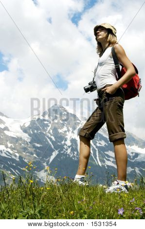 Tourist Woman Hiking in Mountains, Backpacker Climbing, travel tourism