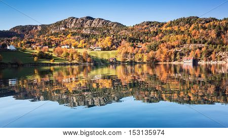 Coastal Norwegian Landscape In Autumn