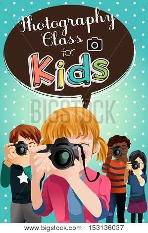 A vector illustration of Photography Class For Kids Poster