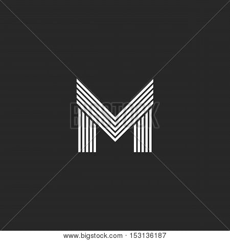 Monogram M Letter Logo Hipster Initial Emblem Template, Black And White Flat Thin Line Mockup Capita