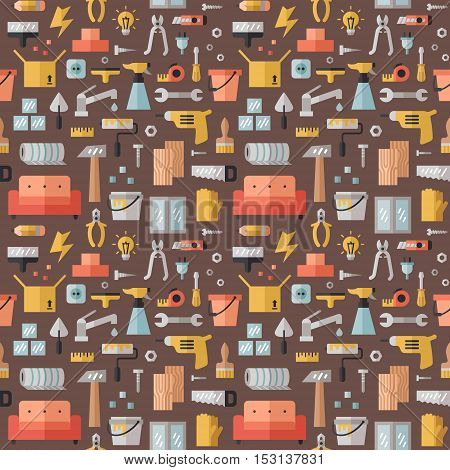 Home repair and construction multicolored flat seamless pattern. Modern minimal design.