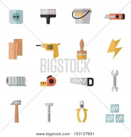 Home repair and construction multicolored flat icons set. Modern minimal design. Part two.