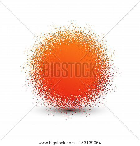 Abstract orange fluffy isolated sphere with shadow logo. Round shape fuzzy kids ball logotype. Shining sun icon. Soft material pompon toy sign. Vector sphere illustration