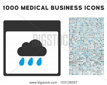 Blue And Gray Rain Cloud Calendar Page glyph icon with 1000 medical business pictograms. Set style is flat bicolor symbols, blue and gray colors, white background.