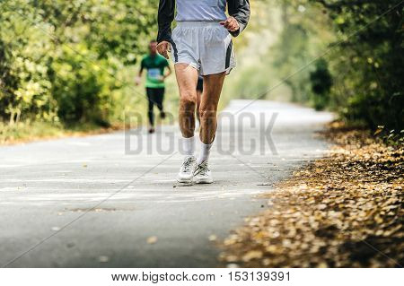 old man running in autumn Park. physical activity and a healthy lifestyle