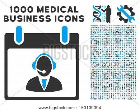 Blue And Gray Reception Operator Calendar Day glyph icon with 1000 medical business pictograms. Set style is flat bicolor symbols, blue and gray colors, white background.