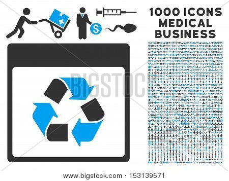Blue And Gray Recycle Calendar Page glyph icon with 1000 medical business pictograms. Set style is flat bicolor symbols, blue and gray colors, white background.