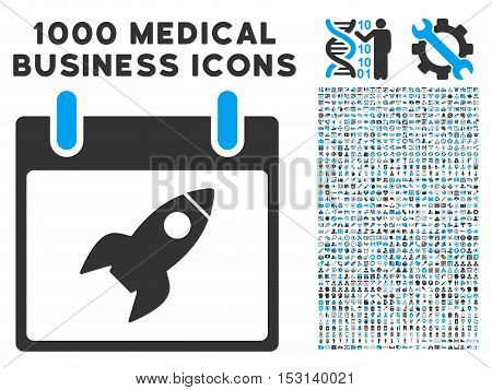 Blue And Gray Rocket Calendar Day glyph icon with 1000 medical business pictograms. Set style is flat bicolor symbols, blue and gray colors, white background.