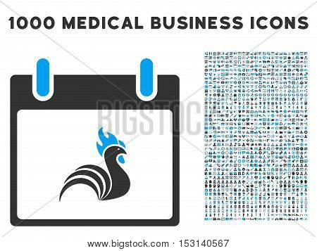 Blue And Gray Rooster Calendar Day glyph icon with 1000 medical business pictograms. Set style is flat bicolor symbols, blue and gray colors, white background.
