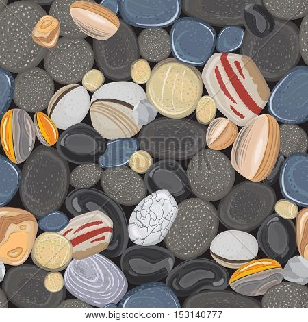 River stones seamless pattern. Rocks pebbles in beach vector background