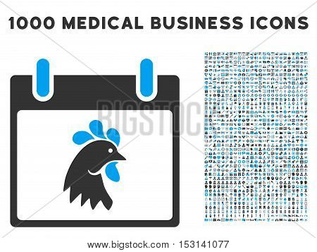 Blue And Gray Rooster Head Calendar Day glyph icon with 1000 medical business pictograms. Set style is flat bicolor symbols, blue and gray colors, white background.