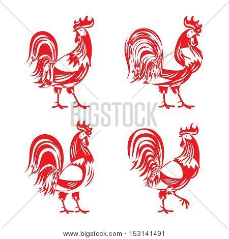 Vector modern stylized red cockerel rooster silhouette set isolated on white