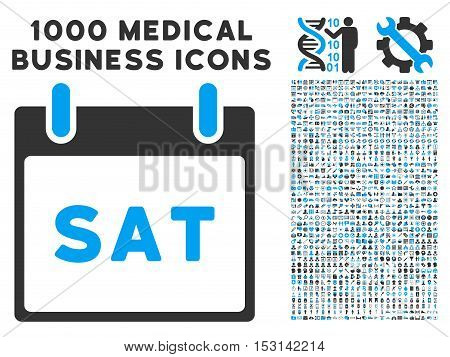 Blue And Gray Saturday Calendar Page glyph icon with 1000 medical business pictograms. Set style is flat bicolor symbols, blue and gray colors, white background.