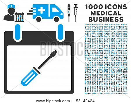Blue And Gray Screwdriver Tuning Calendar Day glyph icon with 1000 medical business pictograms. Set style is flat bicolor symbols, blue and gray colors, white background.