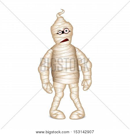 Funny mummy for Halloween isolated on white background