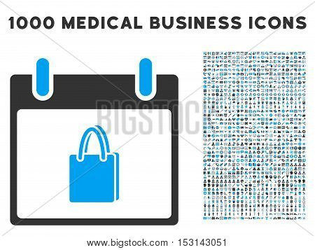 Blue And Gray Shopping Bag Calendar Day glyph icon with 1000 medical business pictograms. Set style is flat bicolor symbols, blue and gray colors, white background.