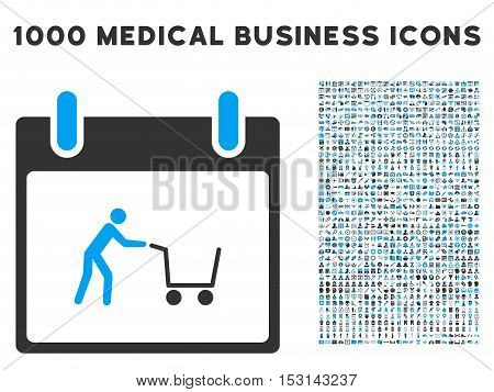 Blue And Gray Shopping Cart Calendar Day glyph icon with 1000 medical business pictograms. Set style is flat bicolor symbols, blue and gray colors, white background.