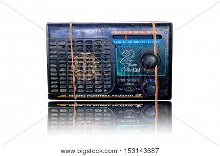 Old radio isolated on white background .