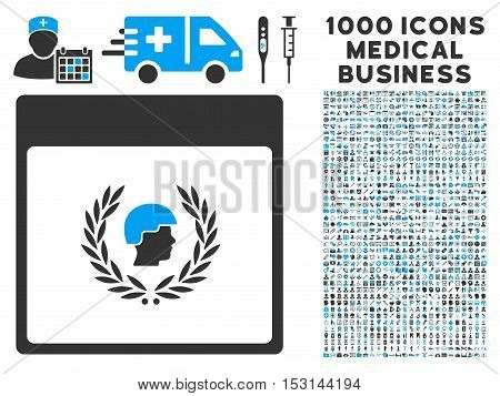 Blue And Gray Soldier Laurel Wreath Calendar Page glyph icon with 1000 medical business pictograms. Set style is flat bicolor symbols, blue and gray colors, white background.