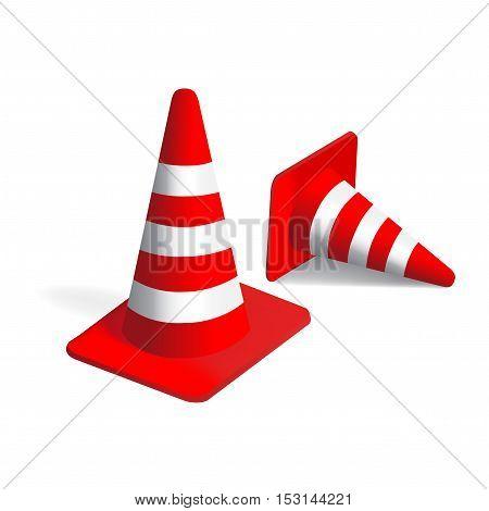Vector traffic Cones - red white striped cones
