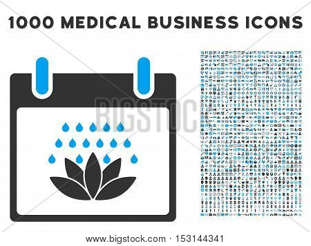 Blue And Gray Spa Shower Calendar Day glyph icon with 1000 medical business pictograms. Set style is flat bicolor symbols, blue and gray colors, white background.
