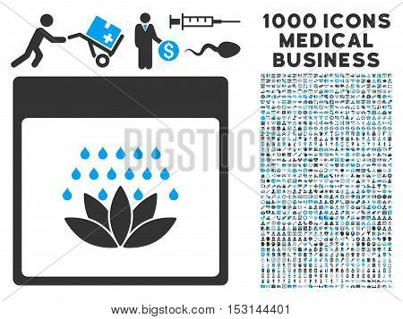Blue And Gray Spa Shower Calendar Page glyph icon with 1000 medical business pictograms. Set style is flat bicolor symbols, blue and gray colors, white background.