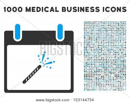 Blue And Gray Sparkler Firecracker Calendar Day glyph icon with 1000 medical business pictograms. Set style is flat bicolor symbols, blue and gray colors, white background.