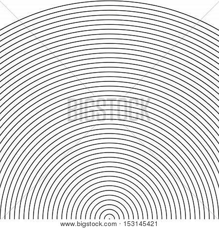 set arc - sonar sector of circleCircle pattern with dynamic irregular lines. Geometric circular pattern with radiating converging circles vector