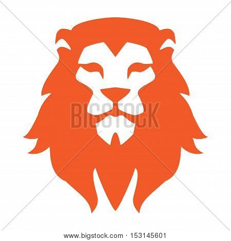 Lion head logo or icon in one color. Vector illustration.