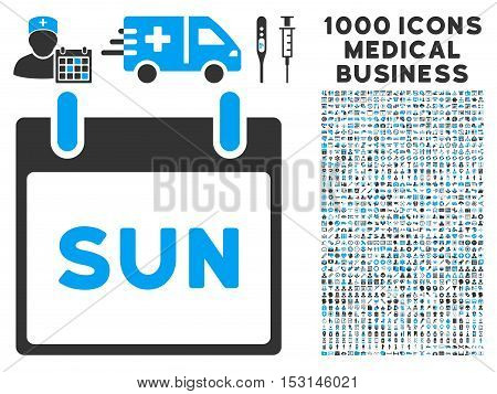 Blue And Gray Sunday Calendar Page glyph icon with 1000 medical business pictograms. Set style is flat bicolor symbols, blue and gray colors, white background.