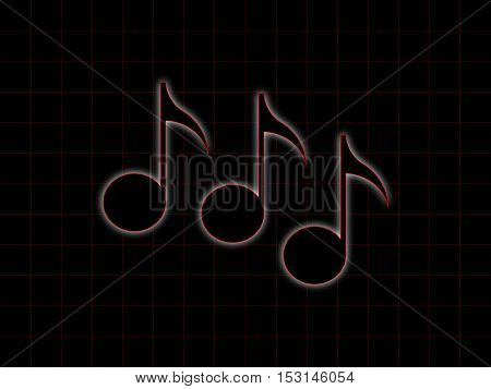 Black notes on the black checkered background